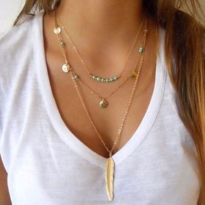 Lovely 3 Layer Feather Necklace